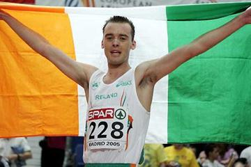 Alistair Cragg of Ireland celebrates 3000m gold in Madrid (Getty Images)