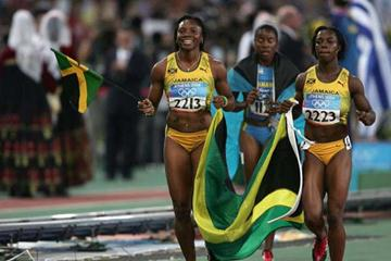Veronica Campbell celebrates winning the 200m with team-mate Aleen Bailey (Getty Images)