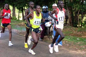 Moses Kigen (423) in action during the 13th edition of the Safaricom Baringo Road Race (David Macharia)
