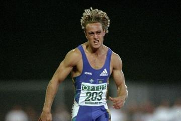 Matt Shirvington in the 1999 Optus Grand Prix Final 100m in Brisbane (Getty Images)