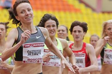 Mariya Savinova on her way to 800m victory at the 2012 Moscow Challenge (Alex Kiselev/sportfoto.ru)