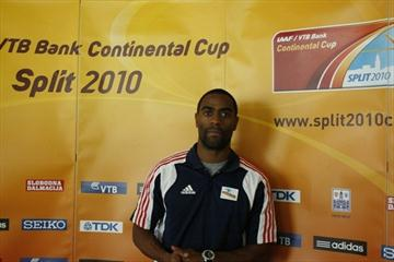 Tyson Gay at a press conference in Split, Croatia, on the eve of the IAAF / VTB Bank Continental Cup (Bob Ramsak)
