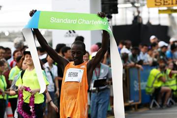 Kenneth Mungara wins at the 2014 Standard Chartered Marathon Singapore  (Organisers)