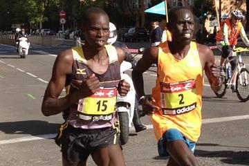 Ezekiel Kiptoo Chebii and Lawrence Kimaiyo in the 2014 Rock'n'Roll Madrid Marathon  (Emeterio Valiente)