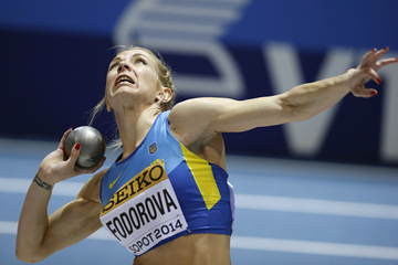 Alina Fodorova in the pentathlon shot at the IAAF World Indoor Championships (AFP / Getty Images)