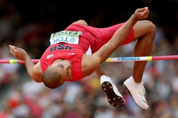 Ashton Eaton in the decathlon high jump at the IAAF World Championships, Beijing 2015 (Getty Images)