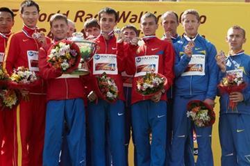 The men's 50km Team podium: Russia, China and Ukraine (Getty Images)