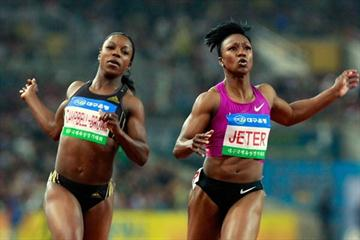 Carmelita Jeter prevails over Veronica Campbell-Brown in Daegu in 2010 (Getty Images)