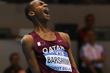 High jump winner Mutaz Essa Barshim at the 2014 IAAF World Indoor Championships in Sopot (Getty Images)