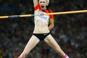 Germany's favourite high jumper Ariane Friedrich clears 2.02m to secure the bronze medal on count-back in a thrilling women's High Jump in the Berlin Olympic Stadium (Getty Images)