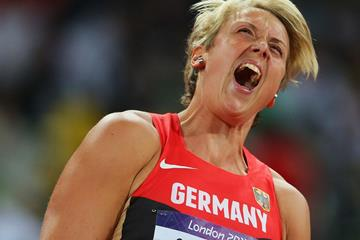 Christina Obergfoll of Germany reacts after a good throw in the Women's Javelin Throw Final of the London 2012 Olympic Games on August 9, 2012 (Getty Images)