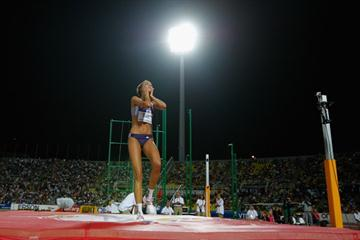 Blanka Vlasic reacts after coming extremely close to breaking the world high jump record (Getty Images)