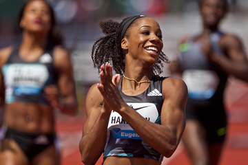 Kendra Harrison wins the 100m hurdles at the IAAF Diamond League meeting in Eugene (Getty Images)