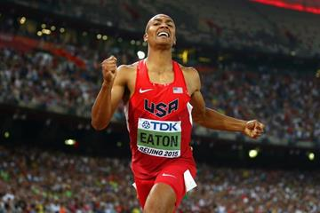 Ashton Eaton in the decathlon 1500m at the IAAF World Championships, Beijing 2015 (Getty Images)
