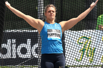 Sandra Perkovic after winning the discus at the IAAF Diamond League meeting in New York (Victah Sailer)