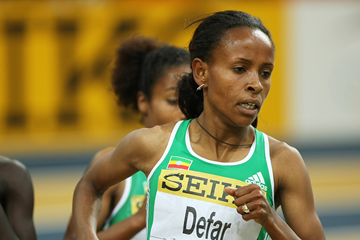 Meseret Defar in action in the 3000m at the IAAF World Indoor Championships (AFP / Getty Images)