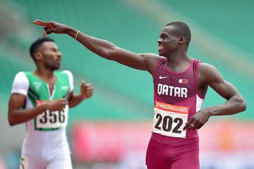 Abdalelah Haroun wins the 400m (Organisers / Peh Siong San)
