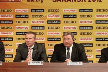 From Left to Right: IAAF General Secretary Essar Gabriel, IAAF Vice President Sergey Bubka, Vladimir Volkov, Interim Head of the Republic of Mordovia and Vladimir Sushkin, Mayor of Saransk at the IAAF World Race Walking Cup official Press Conference (Getty Images)