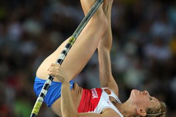Yuliya Golubchikova of Russia competes in the Pole Vault Final (Getty Images)