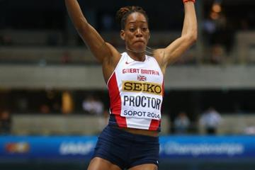 Shara Proctor in the long jump at the 2014 IAAF World Indoor Championships in Sopot (Getty Images)