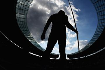An athlete competes in the men's Javelin Throw final in the Berlin Olympic Stadium (Getty Images)