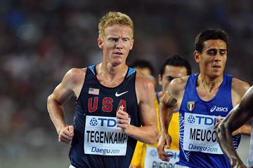 USA's Matt Tegenkamp competes in the 10,000m at the 2011 IAAF World Championships (Getty Images)