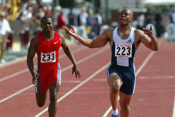 Maurice Greene defeats Tim Montgomery at the Mt SAC Relays (Getty Images)