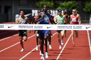 Asbel Kiprop winning the Bowerman Mile at the 2016 IAAF Diamond League meeting in Eugene (Kirby Lee)
