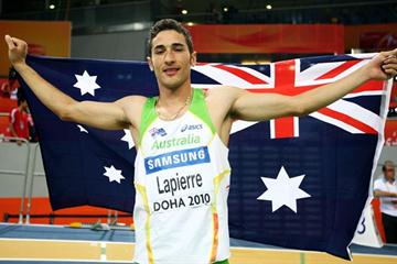 Fabrice Lapierre of Australia celebrates gold in the Long Jump final (Getty Images)