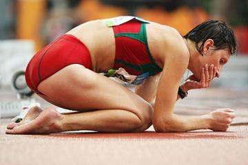 Ryta Turava of Belarus tries to recover after fading to 11th in the women's 20km walk (Getty Images)