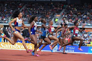The women's 100m at the 2014 IAAF Diamond League meeting in Birmingham (Jean-Pierre Durand)