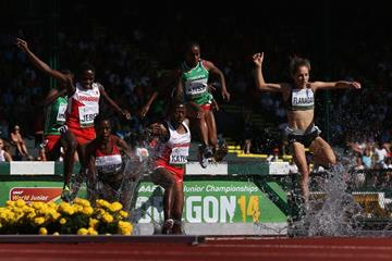 Ruth Jebet in the 3000m steeplechase at the IAAF World Junior Championships, Oregon 2014 (Getty Images)