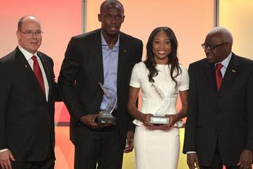 HSH Prince Albert of Monaco, Usain Bolt, Allyson Felix and IAAF President Lamine Diack in Barcelona (Giancarlo Colombo)
