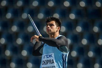 Neeraj Chopra in the javelin at the IAAF World U20 Championships Bydgoszcz 2016 (Getty Images)