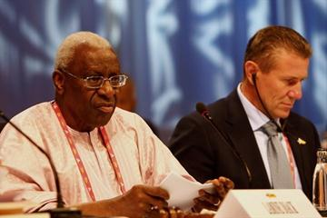 IAAF President Lamine Diack (l) and IAAF Senior Vice President Sergey Bubka at the IAAF Congress in Berlin (Getty Images)