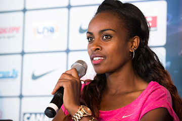 Genzebe Dibaba at the press conference for the IAAF Diamond League meeting in Monaco (Philippe Fitte)