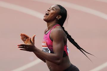 Blessing Okagbare celebrates her win (Getty Images)