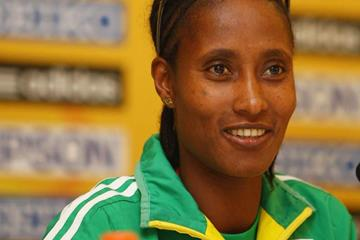 Gelete Burka of Ethiopia at the LOC press conference in Amman (Getty Images)