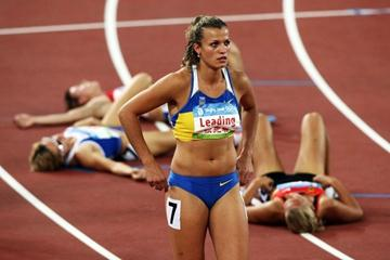 Natalya Dobrynska of Ukraine improves massively to win the Olympic heptathlon title (Getty Images)