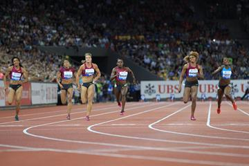 The women's 100m won by Veronica Campbell-Brown (right) at the 2014 IAAF Diamond League final in Zurich (Jean-Pierre Durand)