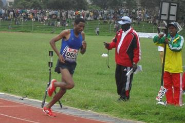 Belete Assefa hear the bell in the 5000m at the 2013 Ethiopian championships (Bizuayehu Wagaw)