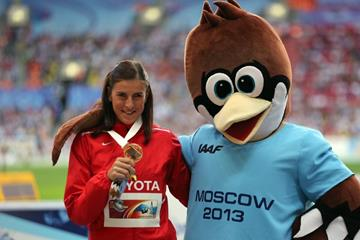 Zuzana Hejnova in the womens 400m Hurdles Medal Ceremony at the IAAF World Athletics Championships Moscow 2013  (Getty Images)