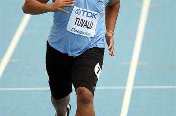 Sogelau Tuvalu of American Samoa in the Preliminary round of the men's 100m (Getty Images)