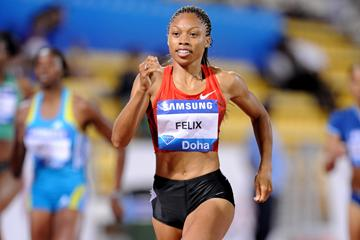 Allyson Felix gets her Samsung League campaign off with a narrow 400m victory in Doha (Jiro Mochizuki)