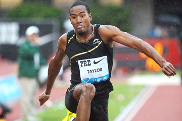 Christian Taylor in the triple jump at the IAAF Diamond League meeting in Eugene (Kirby Lee)