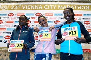 Ruti Aga, Fantu Jimma Eticha and Doris Changeiywo at the pre-race press conference in Vienna (Victah Sailer  / organisers)