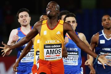 Nijel Amos wins the 800m at the IAAF Continental Cup, Marrakech 2014 (Getty Images)