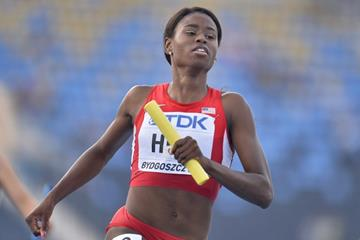 Candace Hill in the 4x100m at the IAAF World U20 Championships Bydgoszcz 2016 (Getty Images)