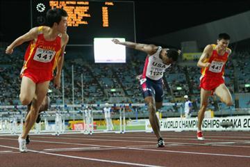 Liu Xiang winning from lane 9 (!) in Osaka (Getty Images)