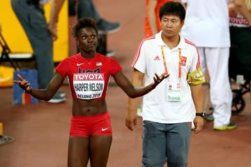 Dawn Harper Nelson after falling in the 100m hurdles at the IAAF World Championships, Beijing 2015 (Getty Images)